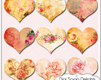 2.00 SALE! Digital  Valentine, Vintage Hearts, Ephemera Altered , Mixed Media Clip Art for Digital Scrapbook, Clip Art