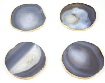 Gray Agate Coasters--Gray Agate Slice Coasters--Set of 4 Coasters