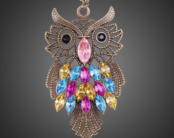 Womens Vintage Rhinestone Owl Pendant Long Chain Necklace Fashion Jewelry hv2n