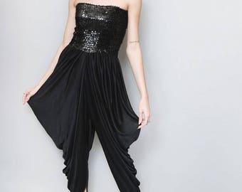 Vintage 1970's Stunning Black Sequin Harem Leg Jumpsuit