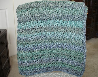 Teal/Dusty Purple Afghan, Throw Blanket, Sofa Throw, Crocheted Throw, Crocheted Afghan, Housewarming Gift, Hostess Gift