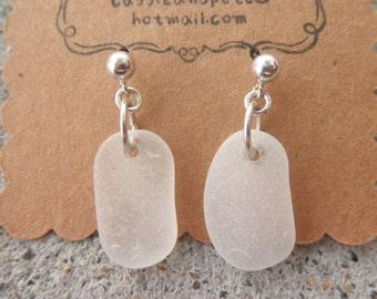 Frosty White Post Earrings Lake Erie Beach Glass