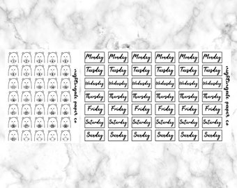 Hand Drawn Character Date Covers - Winston Date Cover Planner Stickers Black and White Date Covers Erin Condren planner