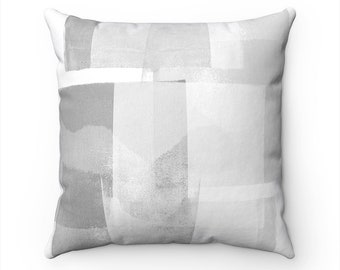 Grey and White Pillow Cover - Abstract Pillow - Grey Decorative Pillow Cover - Neutral Home Decor - Euro Sham