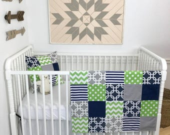Baby Blanket Nursery Decor Minky Baby Blanket Baby Quilt Baby Shower Gift Patchwork Quilt Navy Blue Grey Gray Green White Baby Boy