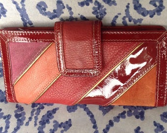 Vintage fossil red pink gold leather clutch wallet