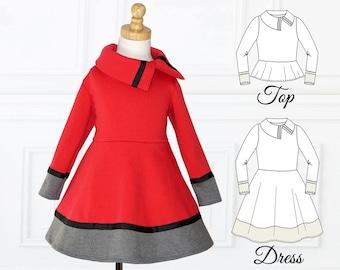 Dress Pattern for Girls, Girls Dress Pattern, PDF Pattern, Stretch pattern, Girls Sewing Pattern, Dress Sewing Pattern, COLORBLOCK DRESS