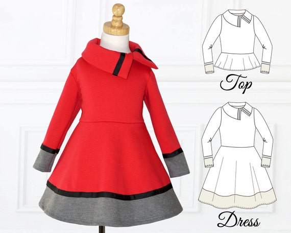 Dress Pattern for Girls, Girls Dress Pattern, PDF Pattern, Stretch ...