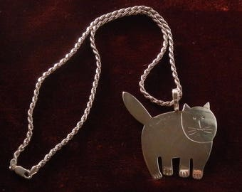 Adorable Large Sterling Cat Pendant on Italian Sterling Rope Chain!