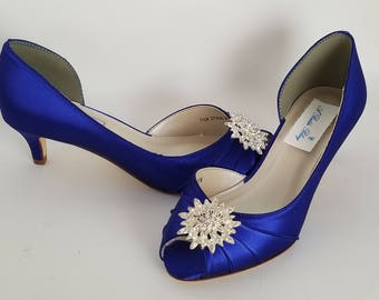 Blue Wedding Shoes with a Crystal Flower Burst Blue Bridal Shoes Blue Kitten Heels 100 COLOR CHOICES Cobalt Blue Shoes Royal Blue Shoes