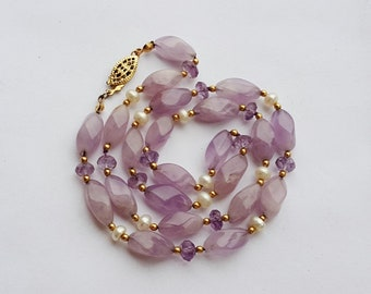 Amethyst Nugget & Bead Necklace with Freshwater Pearls Gold Filled Filigree Clasp 18 1/2""