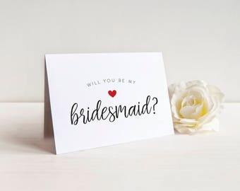 SALE Cute Will you be my Bridesmaid Card, Bridesmaid Card, Bridal Party Card, Bridesmaid Proposal, Bridesman, Maid of Honor, Wedding Card