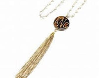 Monogrammed Tassel Necklace, Pearl Tassel Necklace, Engraved Necklace