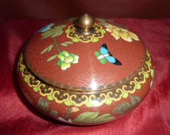 Jewelry box copper Asian eamille * 13 cm * flowers and butterflies