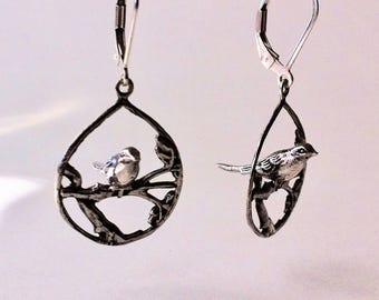 Birds in tree earrings