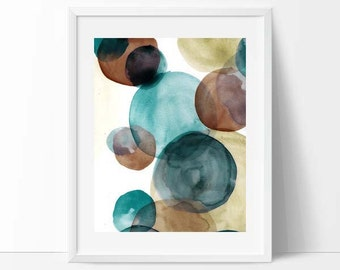 watercolor, modern mid century, Graphic art, neutral colors, geometric art, circles, modern painting, abstract painting