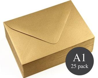 25 - A1 Gold Metallic Euro Flap RSVP Envelopes - Antique Gold -  3 5/8 x 5 1/8
