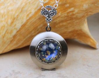 Blue Glass Opal Locket, Small Photo Locket, Photo Locket Necklace, Picture Locket, Keepsake Photo Locket, Wedding Photo Locket
