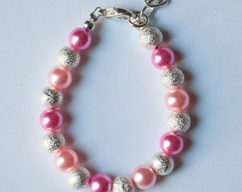 Princess Pink and Silver Baby Bracelet