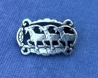 Willy Winnaess ( David Andersen) Norwegian Silver Enamel Brooch Pin. Rare. Goats. Unique. Hand Made. FREE SHIPPING