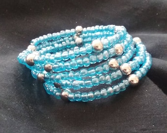 Silver and Opaque Blue Seed Bead Bracelet, Memory Wire Bracelet, Women's Blue Beaded Bracelet, Beaded Bracelet, Blue Fashion Accessory