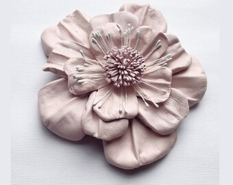 Leather Flower Brooch, pink flower, leather brooch, wedding corsage, flower corsage, pale pink corsage, floral brooch, flower pin, (lf86)