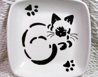 Siamese Stencil Cat Original Design Painted On Square Dish Handmade Ceramic by Grace M Smith