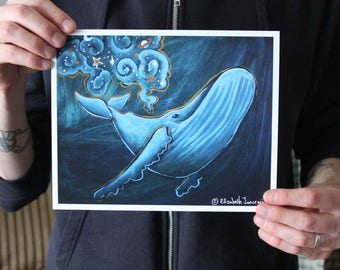 Whale with Galaxy; Fine Art Print