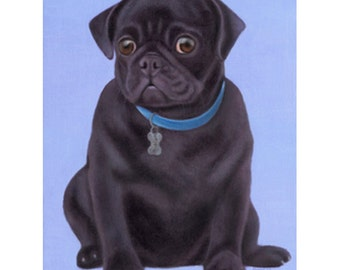 Black Pug Painting - Original Oil Pet Portrait - Dog Painting - Dog Art - Pug Art - Proceeds Benefit Animal Charity