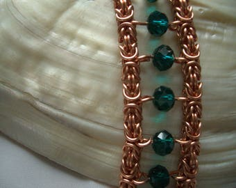 Green crystal and copper Byzantine beaded chainmaille bracelet