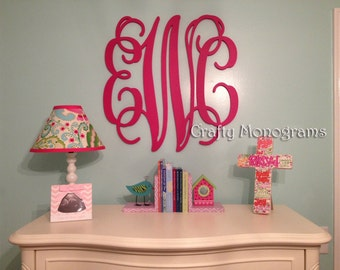 """24"""" PAINTED Wood Monogram Initials, Wall Decor, Hanging Wooden Wall Letters, Wedding, Office Decor Painted Housewares Home Decor"""