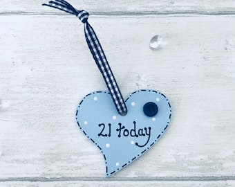 21st birthday tag. 21st birthday. Heart gift tag. Birthday tag. Bottle tag. Present gift card tag. Blue gift tag. 21st gift.