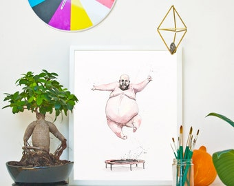 TRAMPOLINE - The Human Being *Limited Edition Giclée Print on Watercolour Paper - 300gsm.