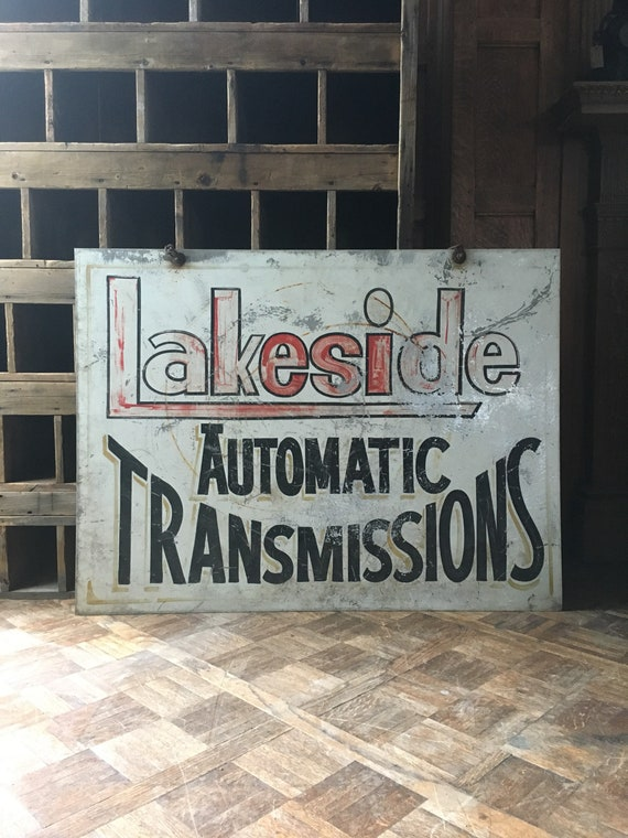 Vintage Automotive Repair Shop Trade Sign, Lakeside Automatic Transmissions, Industrial Machine Shop Sign, Original Hand Painted Metal Sign