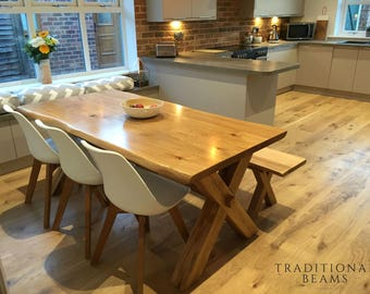 Solid Oak Cross Leg Dining Table with Matching Bench *Handmade in North Yorkshire*