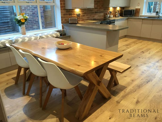 Solid oak cross leg dining table with matching bench handmade like this item watchthetrailerfo