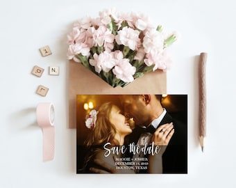 Calligraphy Photo Save the Date Card Either Printed or Printable 5x7 Save the Date Cards Wedding Save Our Date