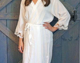 COTTON LACE ROBES - White Lace Robe - Lace Bridal Robe - Bridesmaid Robes - Lace Lingerie - Lace Wedding Robes - Lace Kimono