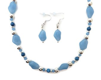 Blue Beaded Necklace, Light Blue Necklace Set, Pale Blue Necklace, Blue and Silver Necklace, Sky Blue Earrings, Blue Dangle Earrings