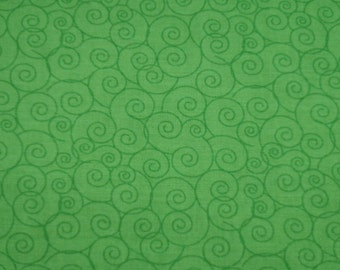 "Linda's Scrolls - Kelly Green - Cotton Quilting Fabric, 44"" Wide, By the Half Yard"