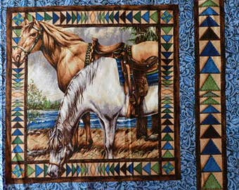 Fabric cotton pillows a vignette of two horses II