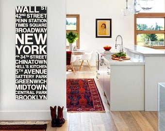New York Wall Art Bus Scroll, NYC Subway Sign, NY Large Canvas, Custom, Vintage-look, Destination, Typography, Stops, Neighborhoods, Streets