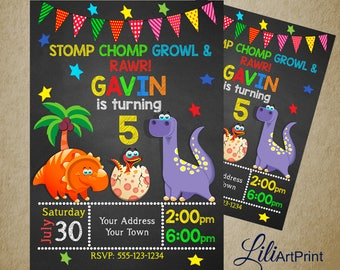 Dinosaur birthday invitation, Dinosaur invite, dinosaur birthday party, Digital file