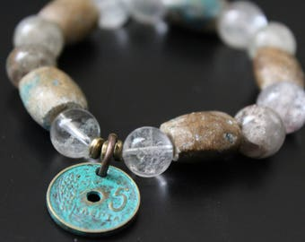 SALE Originally 49.00 Now 29.00 - Gemstone and brass coin charm bracelet, boho stretch old stones bracelet , primitive tribal bracelet