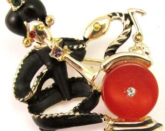 Snake Charmer Brooch Vintage Rhinestones Enamel Costume Jewelry Estate