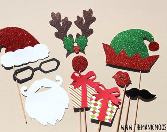 Holiday Props - DELUXE 10 piece set - GLITTER Photo Booth Props - Santa and Friends - Family Holiday Photos