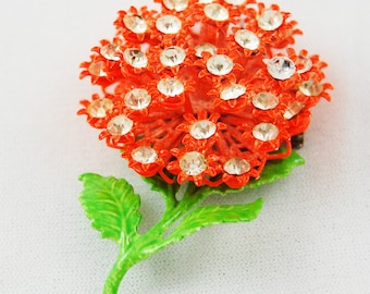 Vintage Orange Floral Brooch