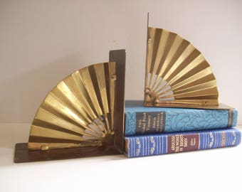 Vintage Brass Fan Bookends, Book Ends, Art Deco, Hollywood Regency, Glam Office Decor, Chinoiserie Chic