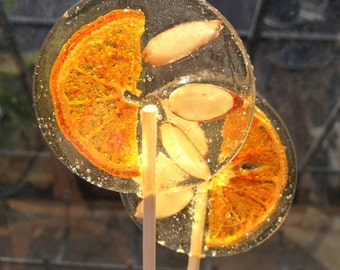 3 Italian Bergamot Party Favors Lollipops With Tangerine Slices And Slivered Almonds