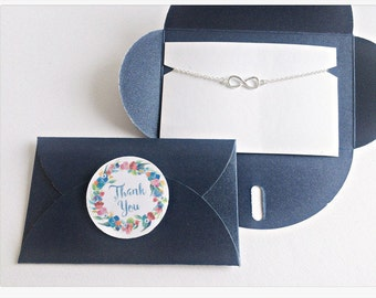 Infinity Bracelet SILVER // BLUE Wrap // Thank You Sticker